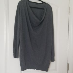 Ann Taylor Tunic Sweater Gray Long Sleeve XL